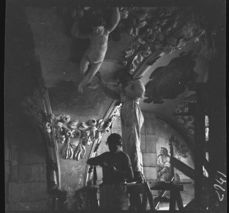Sacrestia, volta durante il restauro