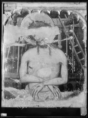 Ancona dell'Annunciazione, particolare della predella con la Pietà (prima del restauro), Joan Mates