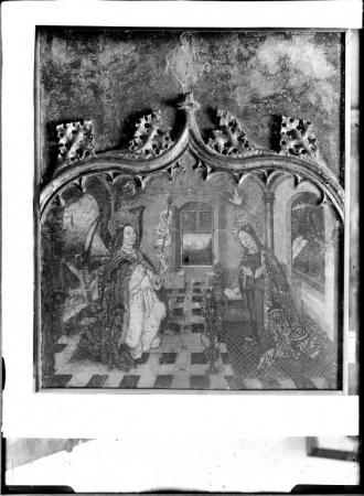 Ancona della Visitazione, particolare dell'Annunciazione, G. Barcelò